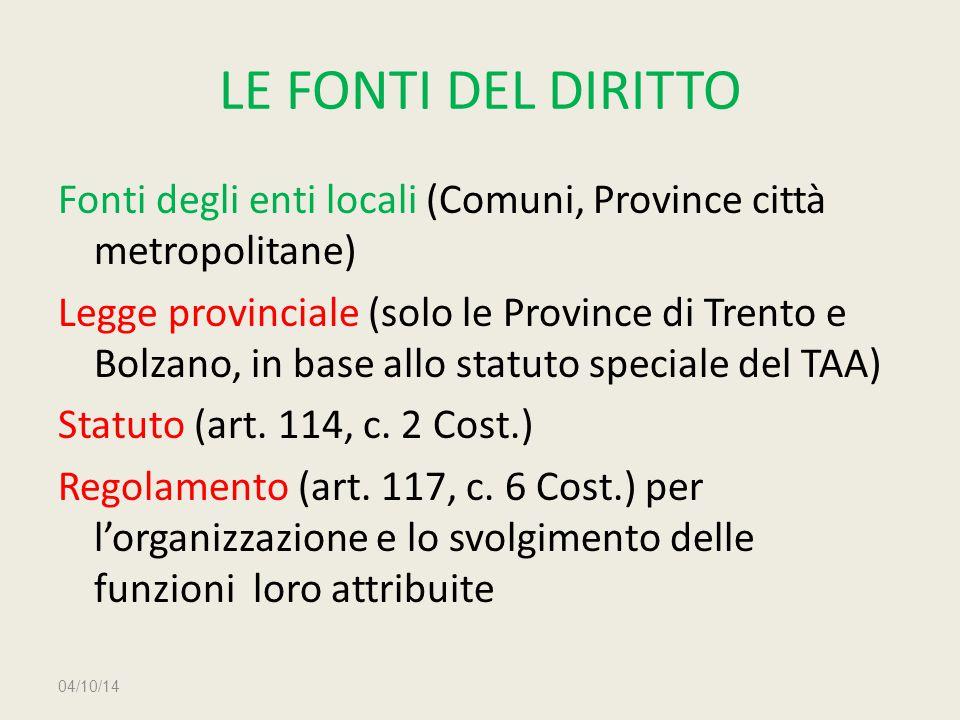 LE FONTI DEL DIRITTO Fonti degli enti locali (Comuni, Province città metropolitane) Legge provinciale (solo le Province di Trento e Bolzano, in base a