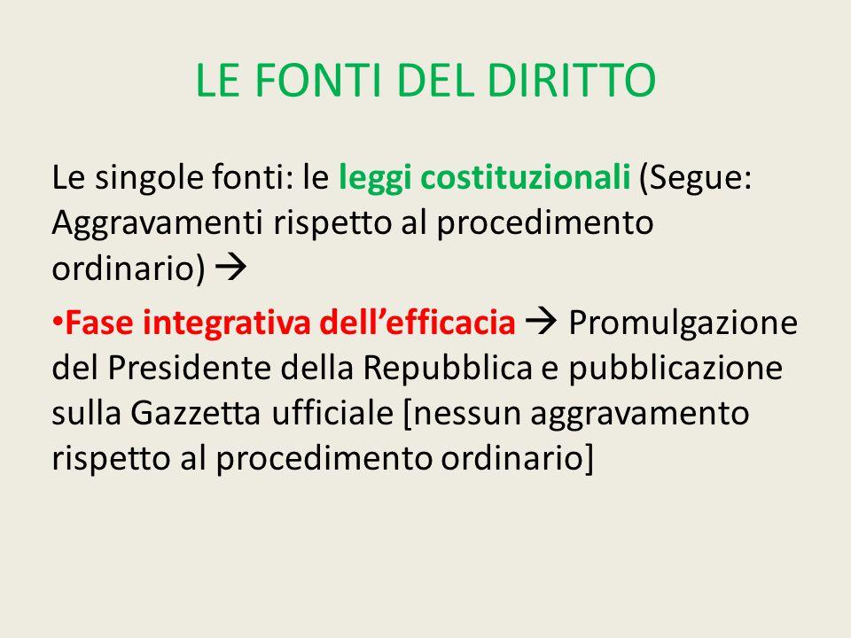 LE FONTI DEL DIRITTO Le singole fonti: le leggi costituzionali (Segue: Aggravamenti rispetto al procedimento ordinario)  Fase integrativa dell'effica