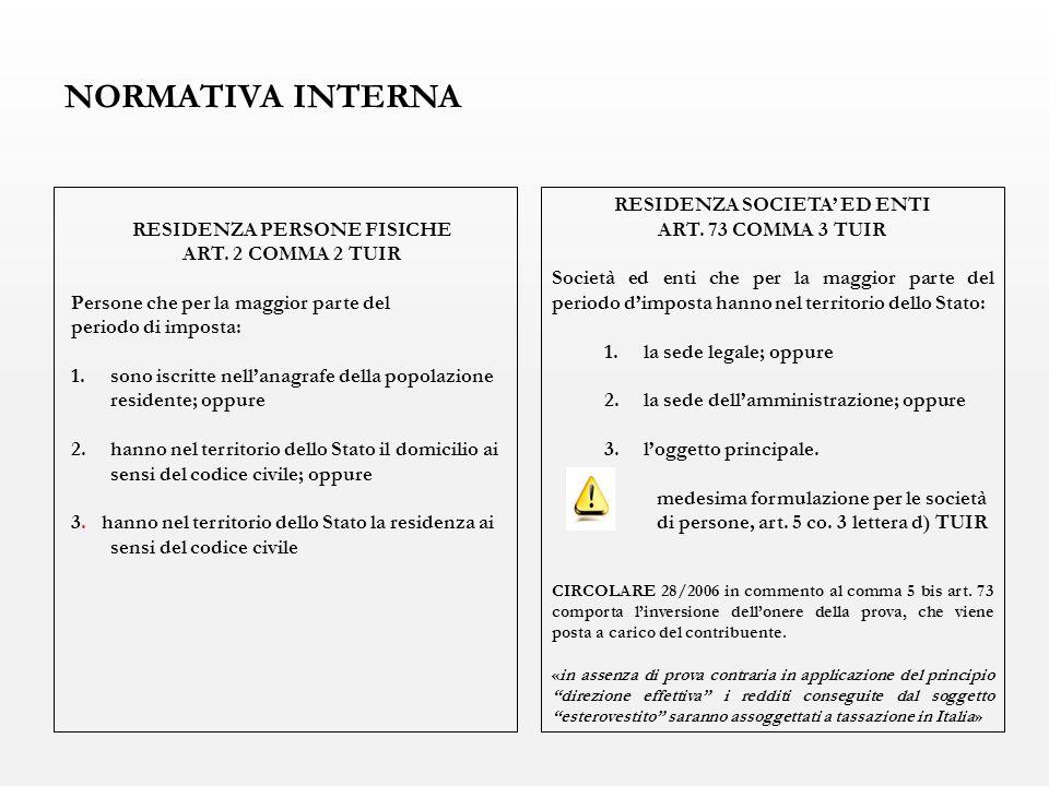 NORMATIVA INTERNA RESIDENZA PERSONE FISICHE ART. 2 COMMA 2 TUIR Persone che per la maggior parte del periodo di imposta: 1.sono iscritte nell'anagrafe