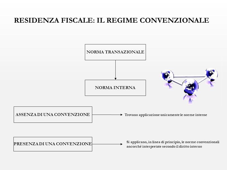 ASSENZA DI UNA CONVENZIONE PRESENZA DI UNA CONVENZIONE Si applicano, in linea di principio, le norme convenzionali ancorché interpretate secondo il diritto interno Trovano applicazione unicamente le norme interne NORMA TRANSAZIONALE NORMA INTERNA RESIDENZA FISCALE: IL REGIME CONVENZIONALE