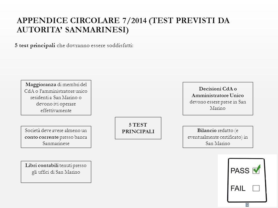 APPENDICE CIRCOLARE 7/2014 (TEST PREVISTI DA AUTORITA' SANMARINESI) 5 test principali che dovranno essere soddisfatti: Maggioranza di membri del CdA o