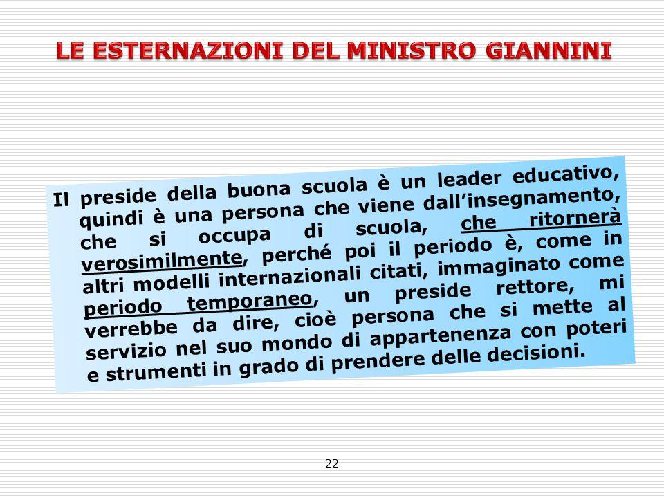22 Il preside della buona scuola è un leader educativo, quindi è una persona che viene dall'insegnamento, che si occupa di scuola, che ritornerà veros