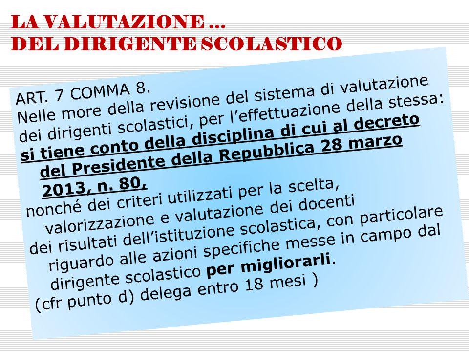 LA VALUTAZIONE … DEL DIRIGENTE SCOLASTICO ART. 7 COMMA 8. Nelle more della revisione del sistema di valutazione dei dirigenti scolastici, per l'effett