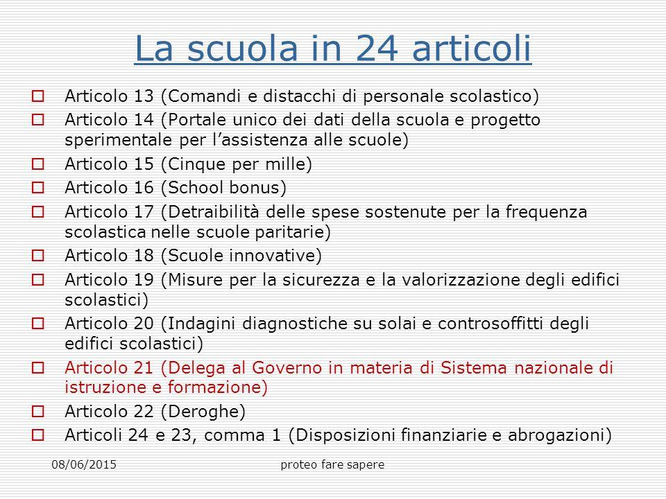 La scuola in 24 articoli  Articolo 13 (Comandi e distacchi di personale scolastico)  Articolo 14 (Portale unico dei dati della scuola e progetto spe