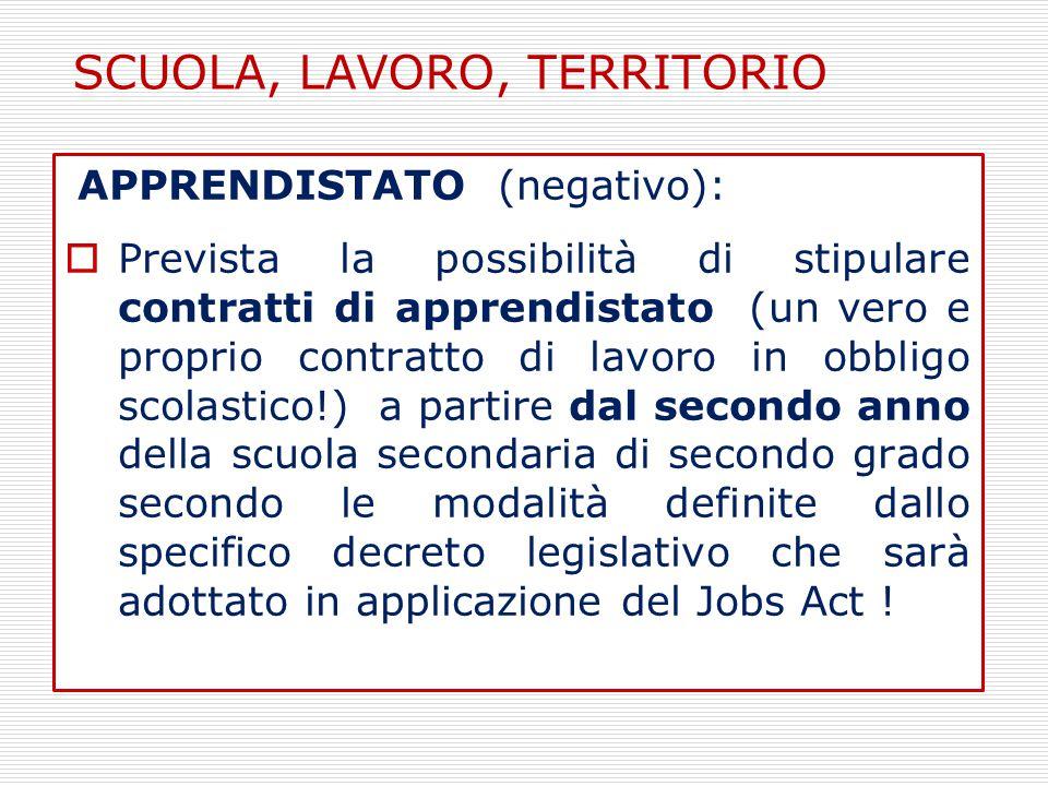 APPRENDISTATO (negativo):  Prevista la possibilità di stipulare contratti di apprendistato (un vero e proprio contratto di lavoro in obbligo scolasti