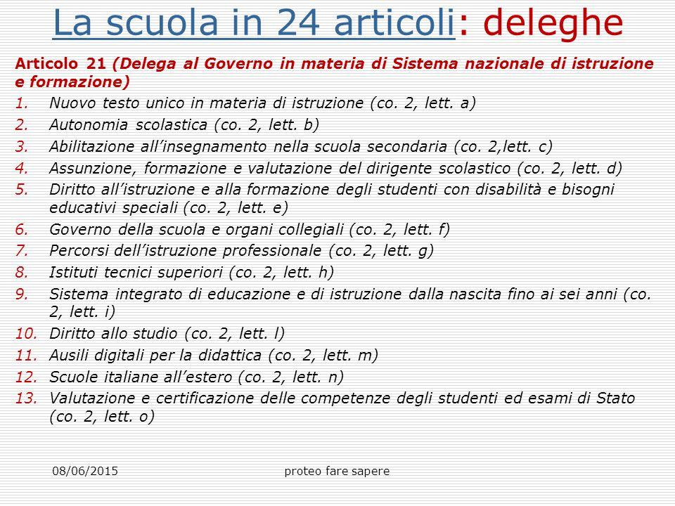 La scuola in 24 articoliLa scuola in 24 articoli: deleghe Articolo 21 (Delega al Governo in materia di Sistema nazionale di istruzione e formazione) 1