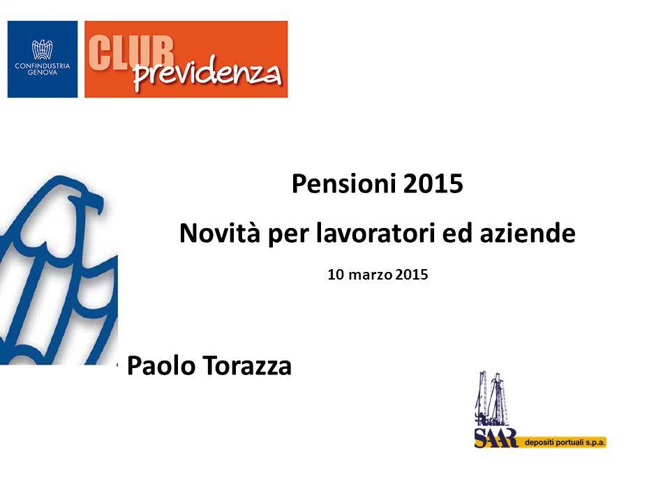 Pensioni 2015 Novità per lavoratori ed aziende 10 marzo 2015 Paolo Torazza