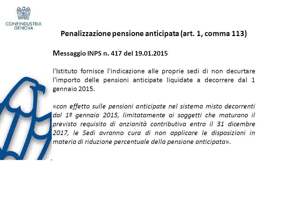 Penalizzazione pensione anticipata (art.1, comma 113) M essaggio INPS n.