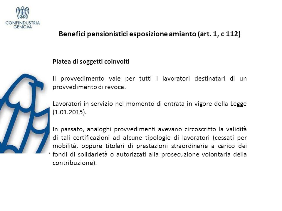 Benefici pensionistici esposizione amianto (art.