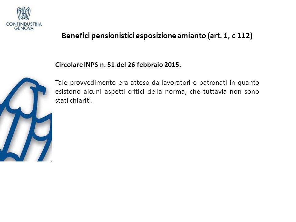 Benefici pensionistici esposizione amianto (art.1, c 112) Circolare INPS n.