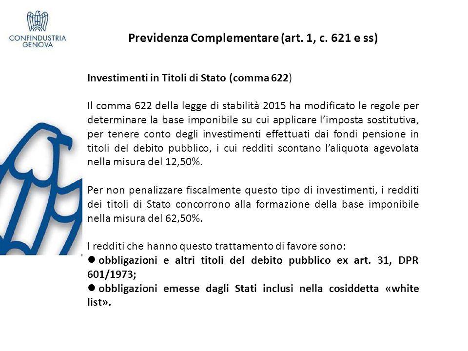 Previdenza Complementare (art.1, c.