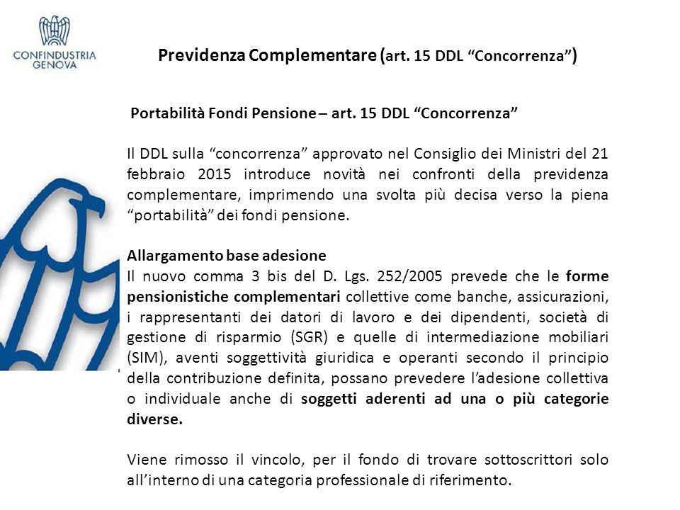Previdenza Complementare ( art.15 DDL Concorrenza ) Portabilità Fondi Pensione – art.