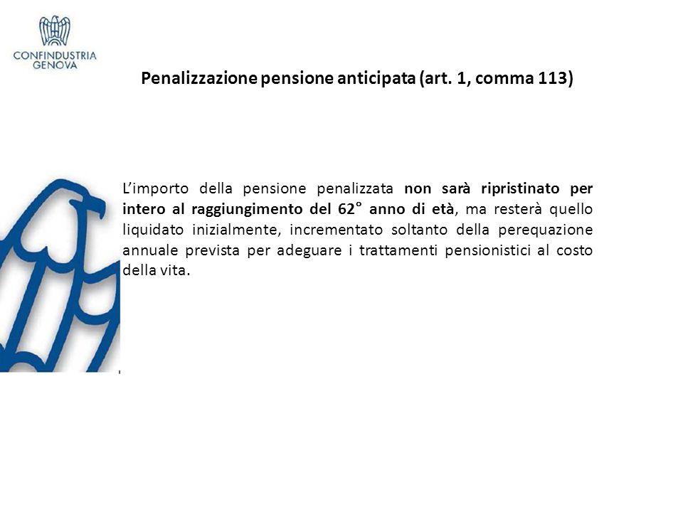 Penalizzazione pensione anticipata (art.1, comma 113) Art.