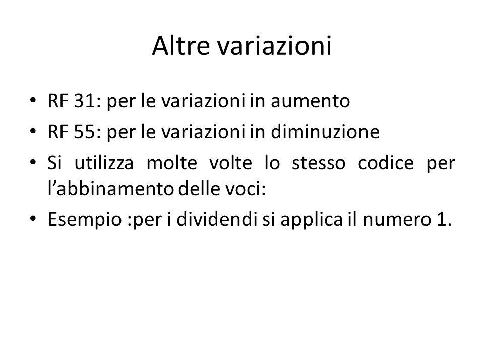 Altre variazioni RF 31: per le variazioni in aumento RF 55: per le variazioni in diminuzione Si utilizza molte volte lo stesso codice per l'abbinament