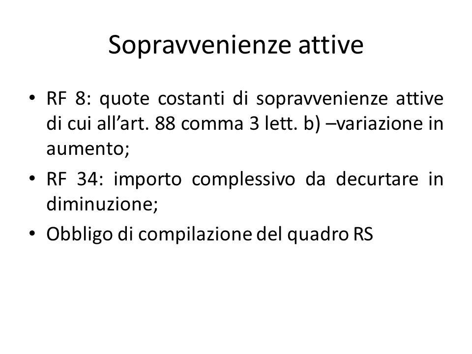 Sopravvenienze attive RF 8: quote costanti di sopravvenienze attive di cui all'art. 88 comma 3 lett. b) –variazione in aumento; RF 34: importo comples