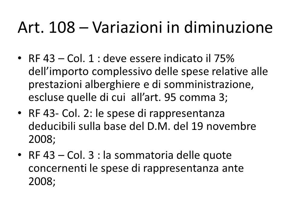 Art. 108 – Variazioni in diminuzione RF 43 – Col. 1 : deve essere indicato il 75% dell'importo complessivo delle spese relative alle prestazioni alber