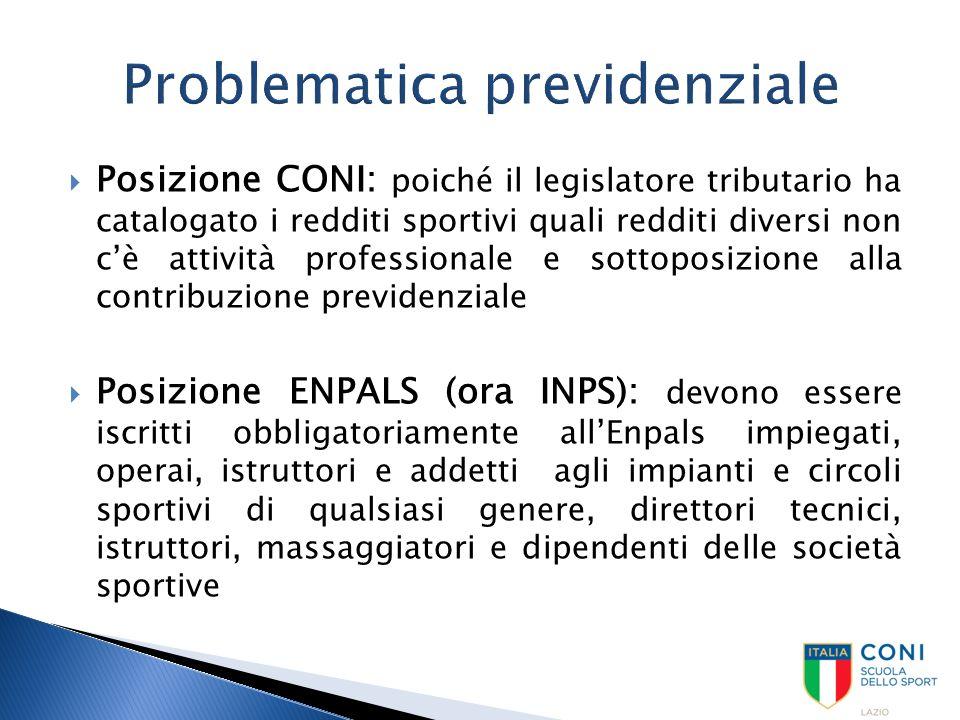  Posizione CONI: poiché il legislatore tributario ha catalogato i redditi sportivi quali redditi diversi non c'è attività professionale e sottoposizi