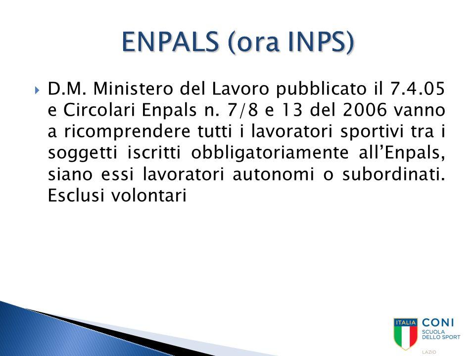  D.M. Ministero del Lavoro pubblicato il 7.4.05 e Circolari Enpals n. 7/8 e 13 del 2006 vanno a ricomprendere tutti i lavoratori sportivi tra i sogge