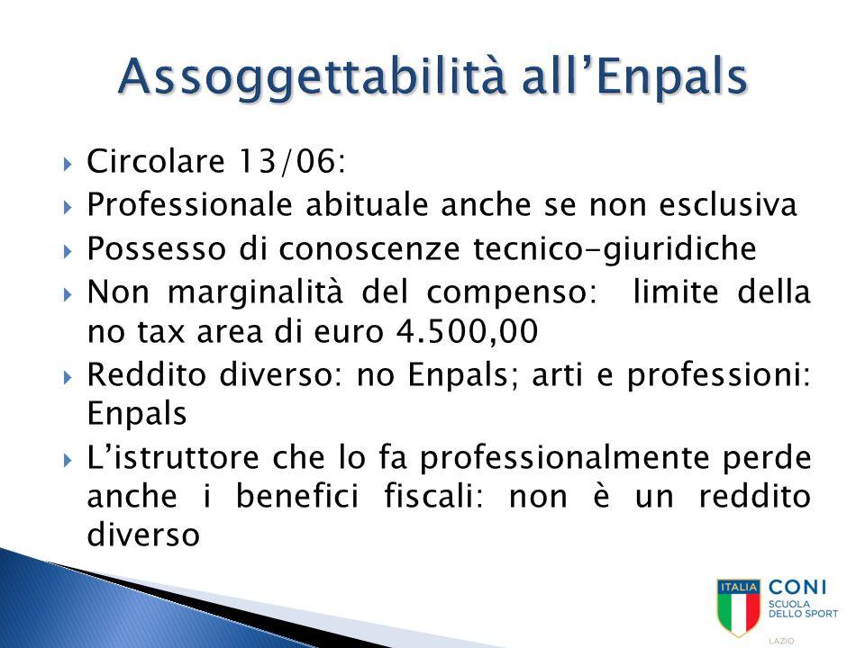  Circolare 13/06:  Professionale abituale anche se non esclusiva  Possesso di conoscenze tecnico-giuridiche  Non marginalità del compenso: limite