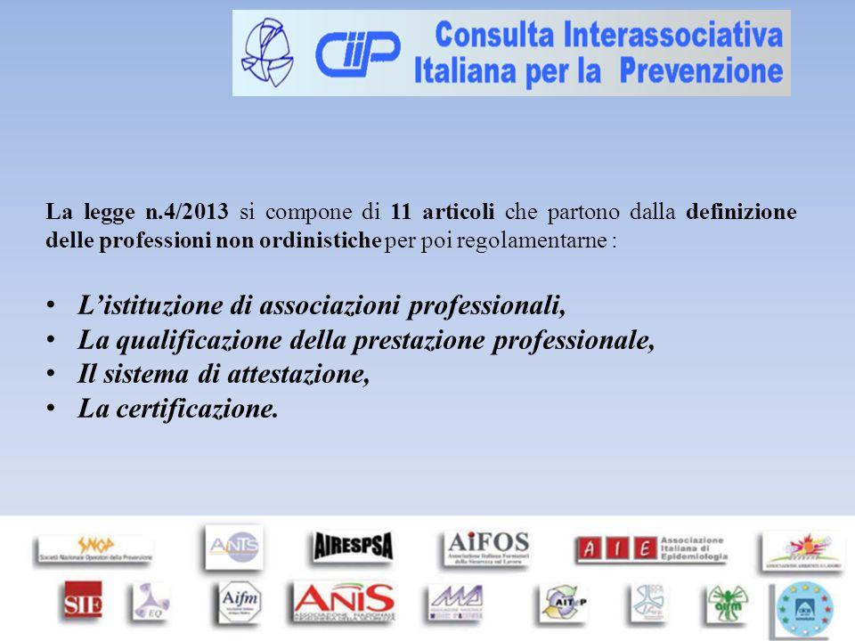 La legge n.4/2013 si compone di 11 articoli che partono dalla definizione delle professioni non ordinistiche per poi regolamentarne : L'istituzione di associazioni professionali, La qualificazione della prestazione professionale, Il sistema di attestazione, La certificazione.