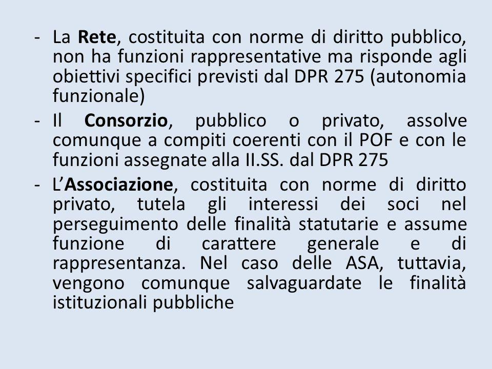 -La Rete, costituita con norme di diritto pubblico, non ha funzioni rappresentative ma risponde agli obiettivi specifici previsti dal DPR 275 (autonom