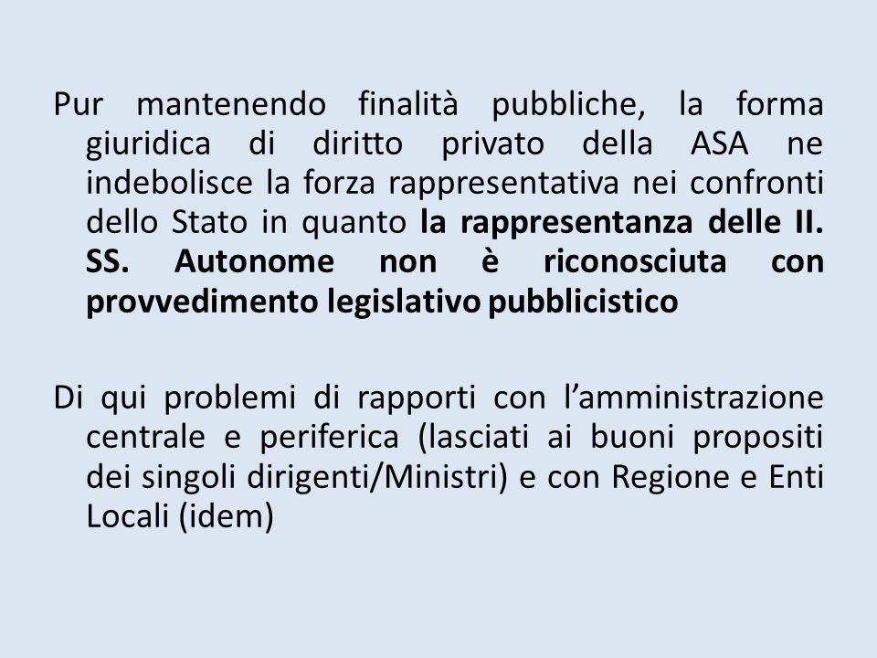 Pur mantenendo finalità pubbliche, la forma giuridica di diritto privato della ASA ne indebolisce la forza rappresentativa nei confronti dello Stato i