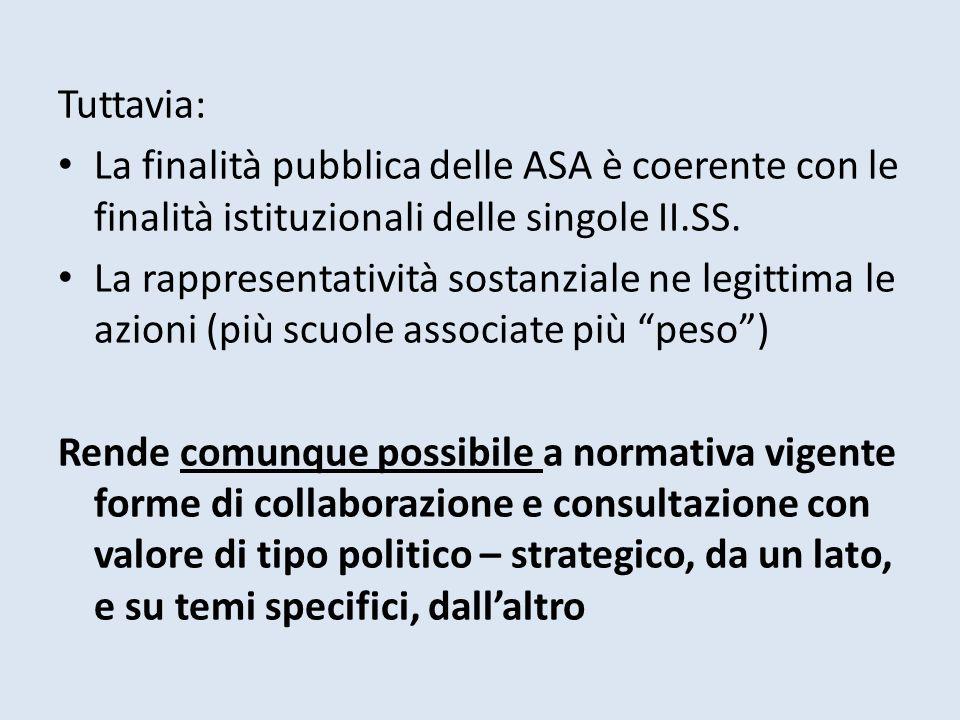 Tuttavia: La finalità pubblica delle ASA è coerente con le finalità istituzionali delle singole II.SS. La rappresentatività sostanziale ne legittima l