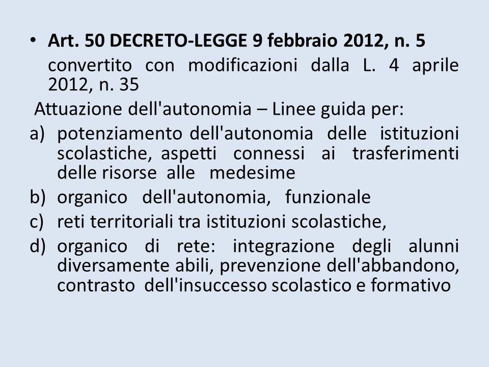 Art. 50 DECRETO-LEGGE 9 febbraio 2012, n. 5 convertito con modificazioni dalla L. 4 aprile 2012, n. 35 Attuazione dell'autonomia – Linee guida per: a)