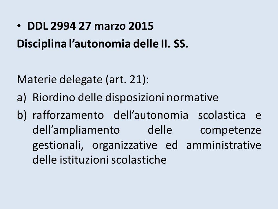 DDL 2994 27 marzo 2015 Disciplina l'autonomia delle II. SS. Materie delegate (art. 21): a)Riordino delle disposizioni normative b)rafforzamento dell'a