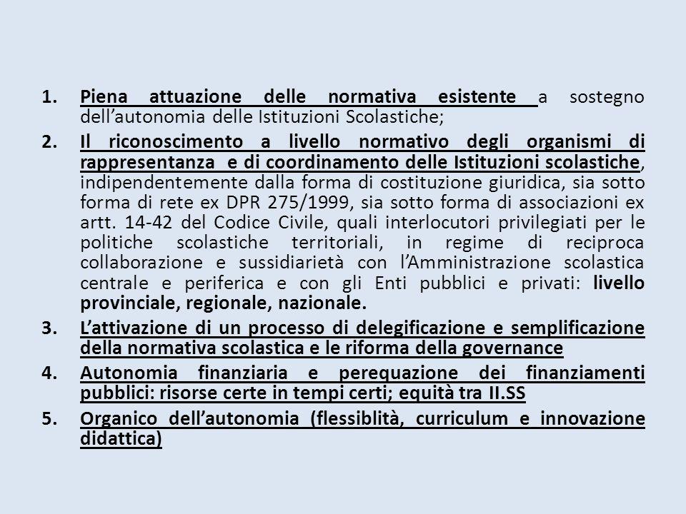 1.Piena attuazione delle normativa esistente a sostegno dell'autonomia delle Istituzioni Scolastiche; 2.Il riconoscimento a livello normativo degli or