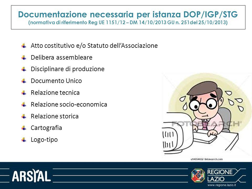 Documentazione necessaria per istanza DOP/IGP/STG (normativa di riferimento Reg UE 1151/12 – DM 14/10/2013 GU n. 251del 25/10/2013) Atto costitutivo e