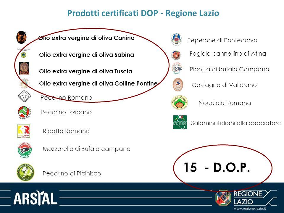 Prodotti certificati DOP - Regione Lazio Olio extra vergine di oliva Canino Olio extra vergine di oliva Sabina Olio extra vergine di oliva Tuscia Peco