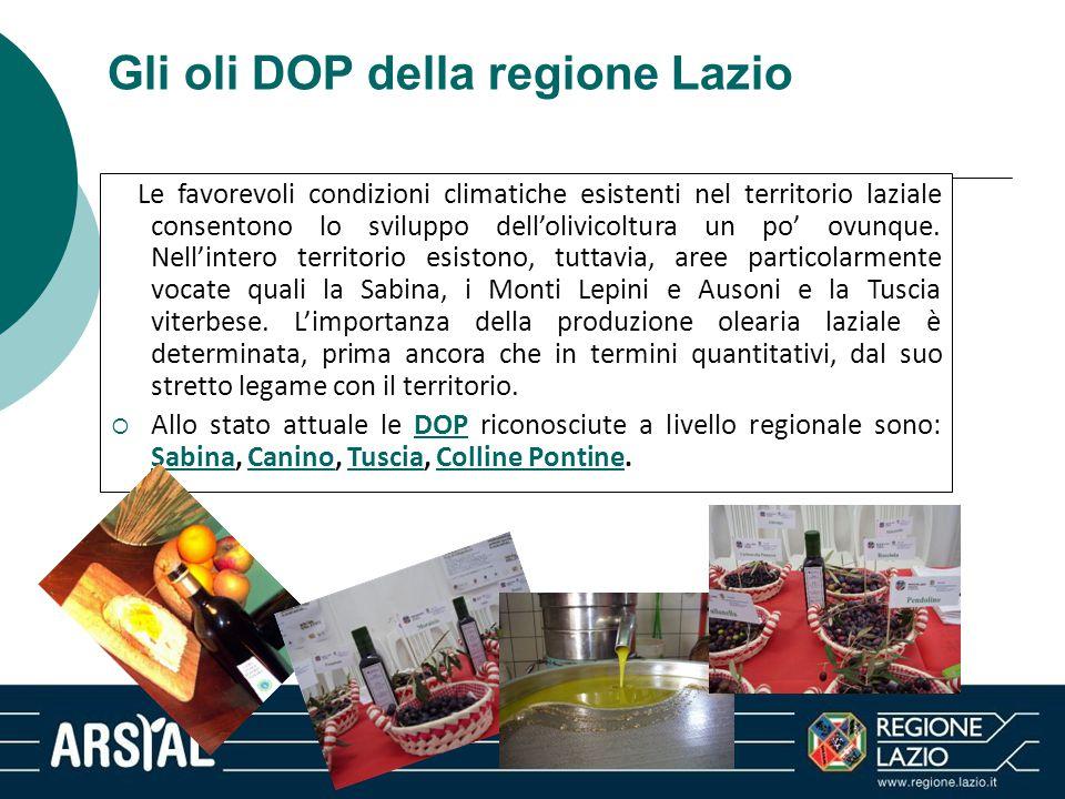 Gli oli DOP della regione Lazio Le favorevoli condizioni climatiche esistenti nel territorio laziale consentono lo sviluppo dell'olivicoltura un po' o