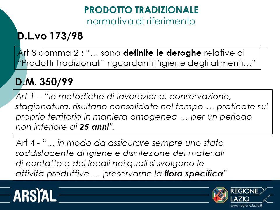 """PRODOTTO TRADIZIONALE normativa di riferimento D.L.vo 173/98 Art 8 comma 2 : """"… sono definite le deroghe relative ai """"Prodotti Tradizionali"""" riguardan"""