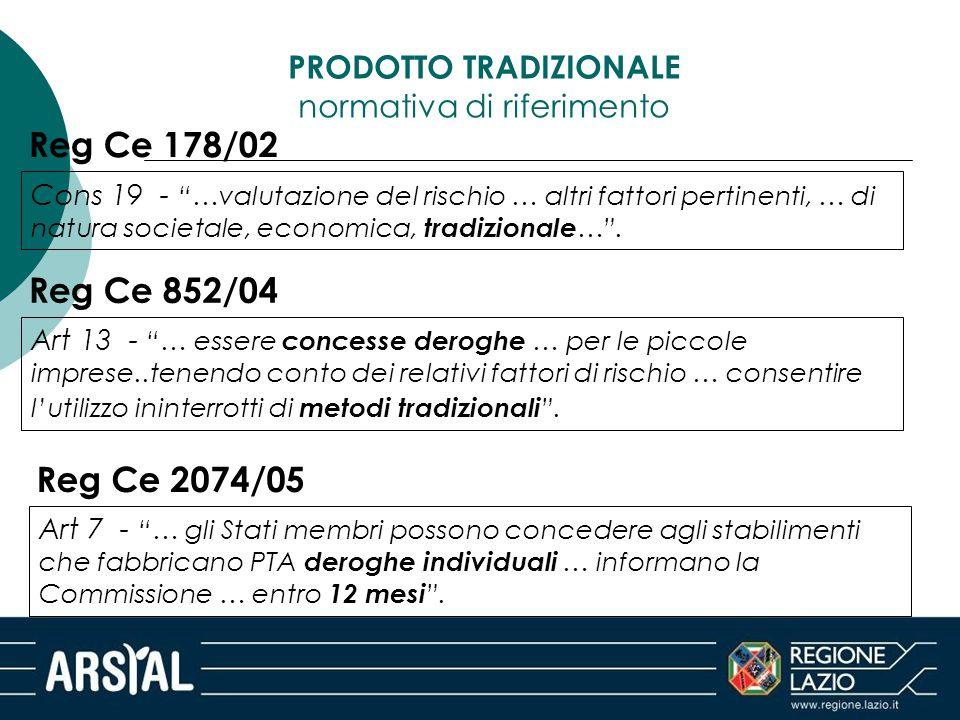 """Reg Ce 178/02 Cons 19 - """"…valutazione del rischio … altri fattori pertinenti, … di natura societale, economica, tradizionale …"""". Reg Ce 852/04 Art 13"""