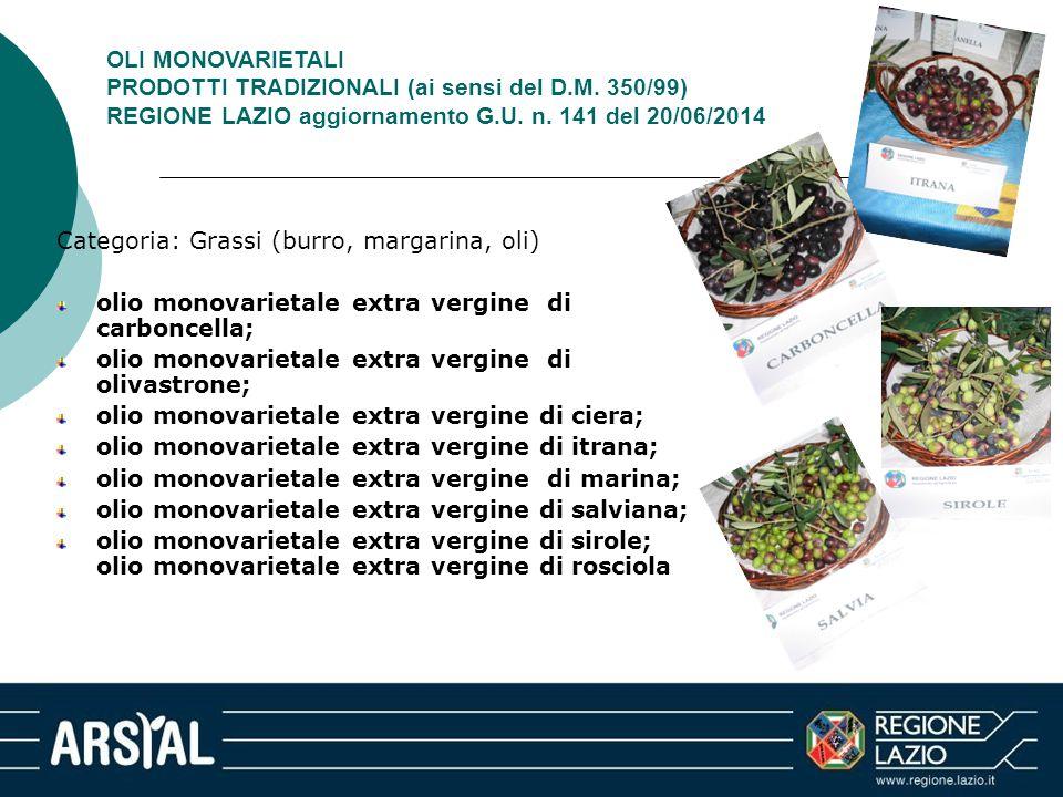 OLI MONOVARIETALI PRODOTTI TRADIZIONALI (ai sensi del D.M. 350/99) REGIONE LAZIO aggiornamento G.U. n. 141 del 20/06/2014 Categoria: Grassi (burro, ma