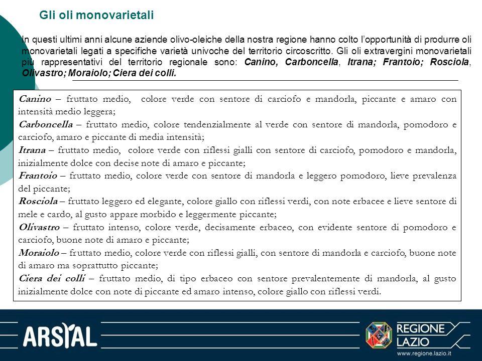 Gli oli monovarietali In questi ultimi anni alcune aziende olivo-oleiche della nostra regione hanno colto l'opportunità di produrre oli monovarietali