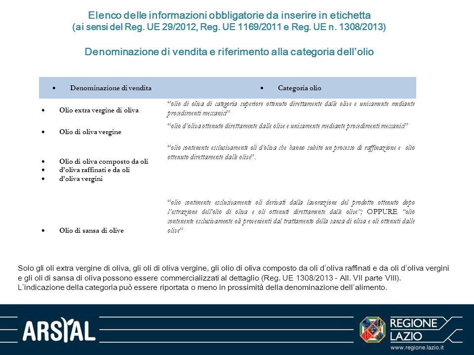 Elenco delle informazioni obbligatorie da inserire in etichetta (ai sensi del Reg. UE 29/2012, Reg. UE 1169/2011 e Reg. UE n. 1308/2013) Denominazione