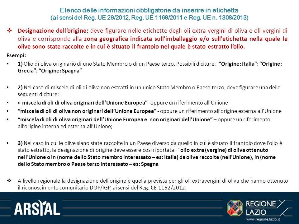 Elenco delle informazioni obbligatorie da inserire in etichetta (ai sensi del Reg. UE 29/2012, Reg. UE 1169/2011 e Reg. UE n. 1308/2013)  Designazion