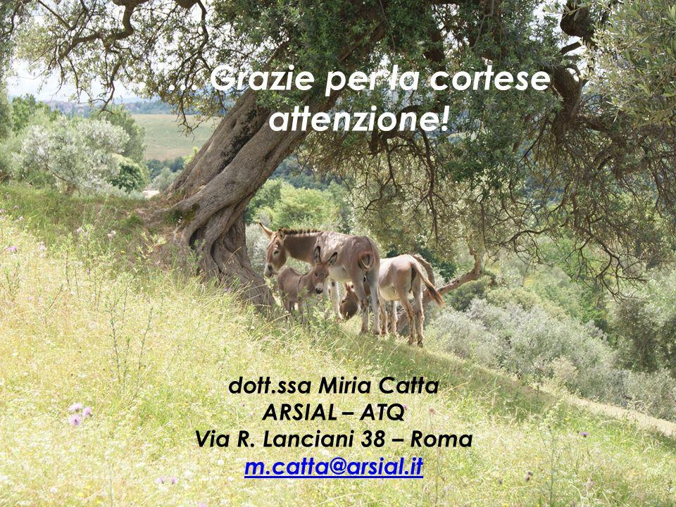 … Grazie per la cortese attenzione! dott.ssa Miria Catta ARSIAL – ATQ Via R. Lanciani 38 – Roma m.catta@arsial.it