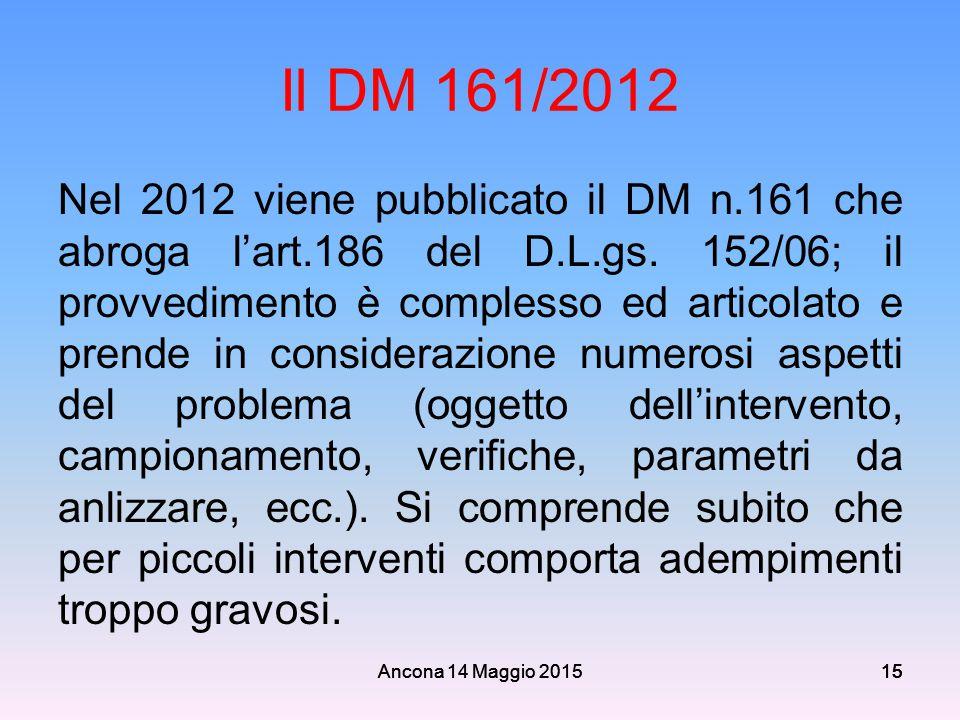 Ancona 14 Maggio 201515 Il DM 161/2012 Nel 2012 viene pubblicato il DM n.161 che abroga l'art.186 del D.L.gs. 152/06; il provvedimento è complesso ed