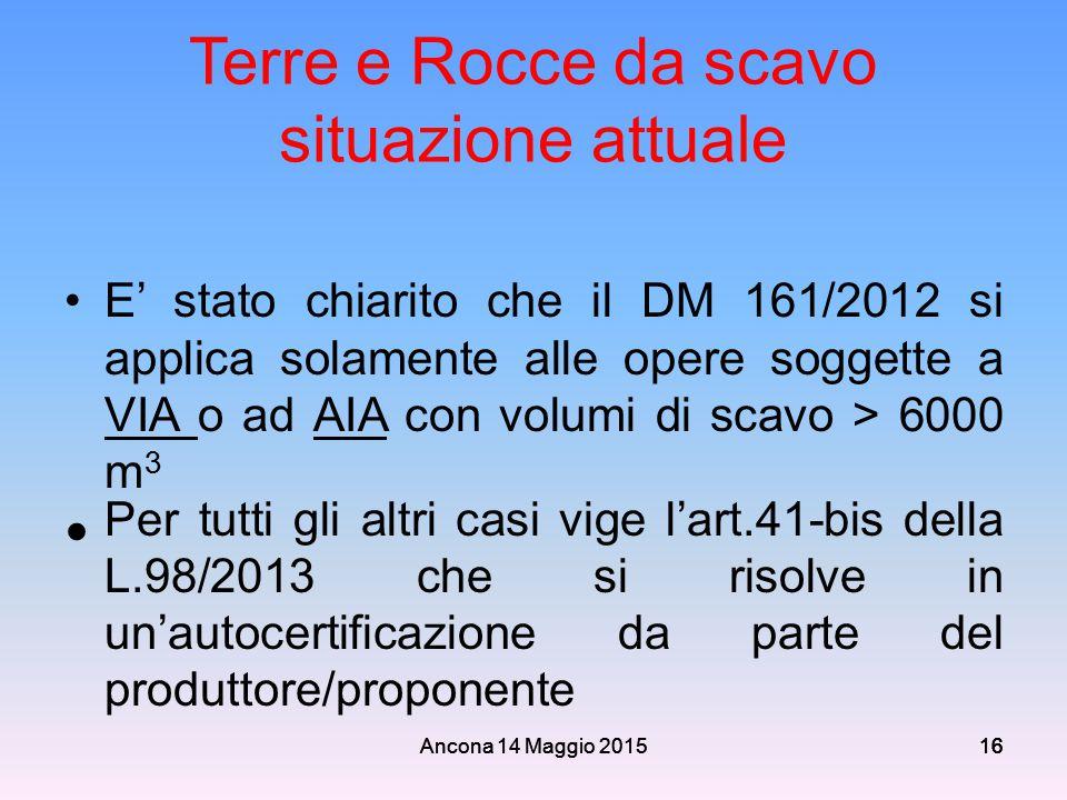 Ancona 14 Maggio 201516 Terre e Rocce da scavo situazione attuale E' stato chiarito che il DM 161/2012 si applica solamente alle opere soggette a VIA