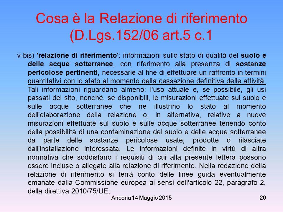 Ancona 14 Maggio 201520 Cosa è la Relazione di riferimento (D.Lgs.152/06 art.5 c.1 v-bis) 'relazione di riferimento': informazioni sullo stato di qual