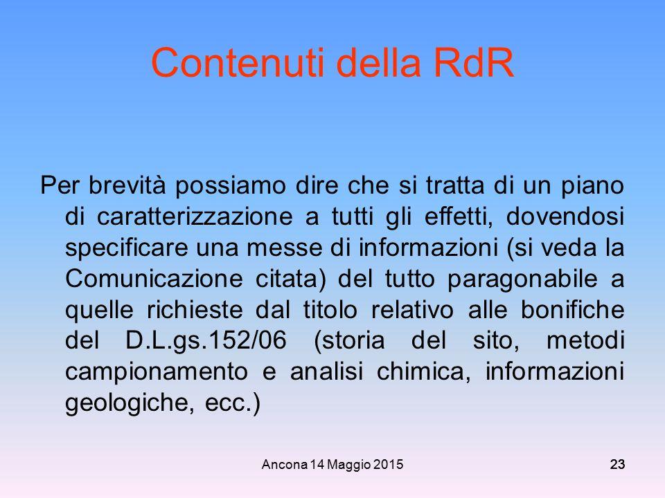 Ancona 14 Maggio 201523 Contenuti della RdR Per brevità possiamo dire che si tratta di un piano di caratterizzazione a tutti gli effetti, dovendosi sp
