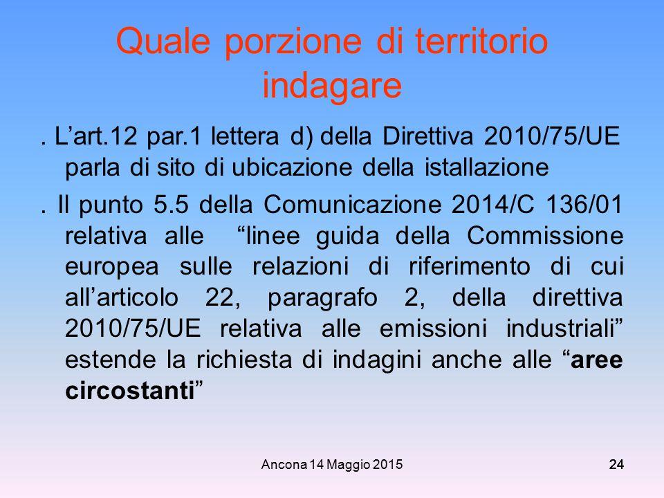 Ancona 14 Maggio 201524 Quale porzione di territorio indagare. L'art.12 par.1 lettera d) della Direttiva 2010/75/UE parla di sito di ubicazione della