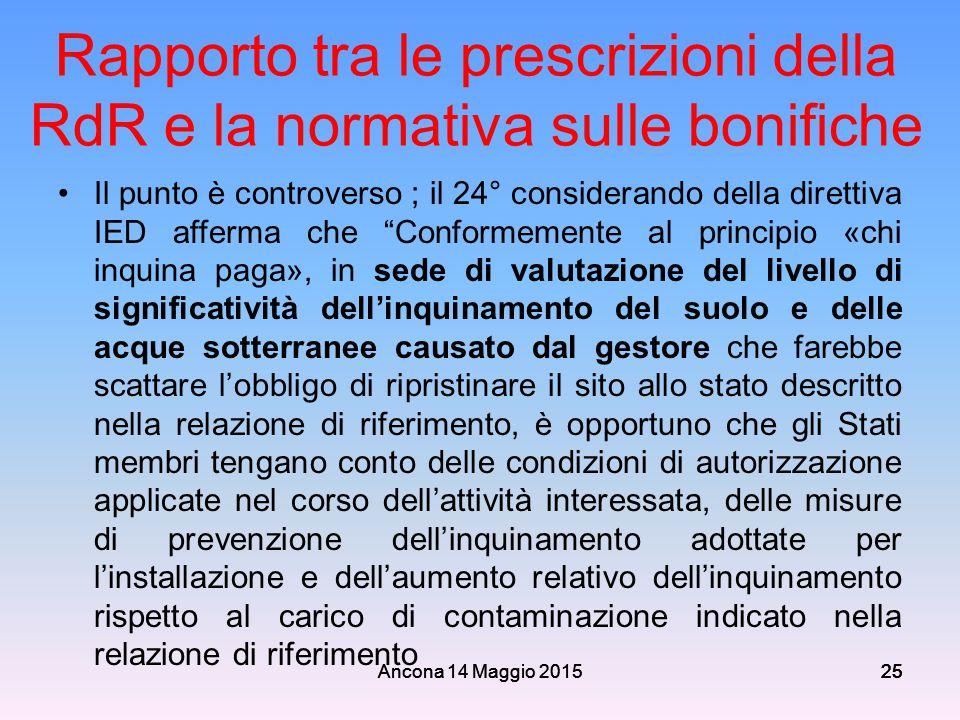 Ancona 14 Maggio 201525 Rapporto tra le prescrizioni della RdR e la normativa sulle bonifiche Il punto è controverso ; il 24° considerando della diret