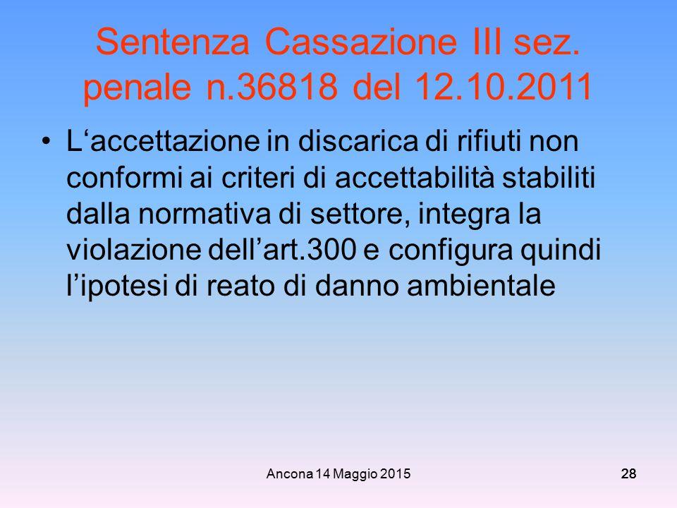 Ancona 14 Maggio 201528 Sentenza Cassazione III sez. penale n.36818 del 12.10.2011 L'accettazione in discarica di rifiuti non conformi ai criteri di a