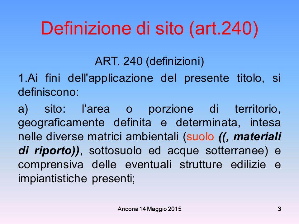 Ancona 14 Maggio 2015333 3 Definizione di sito (art.240) ART. 240 (definizioni) 1.Ai fini dell'applicazione del presente titolo, si definiscono: a) si