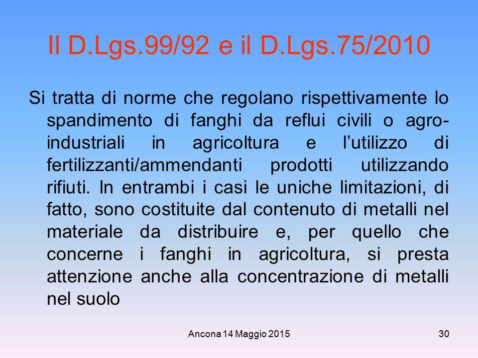 Ancona 14 Maggio 201530 Il D.Lgs.99/92 e il D.Lgs.75/2010 Si tratta di norme che regolano rispettivamente lo spandimento di fanghi da reflui civili o
