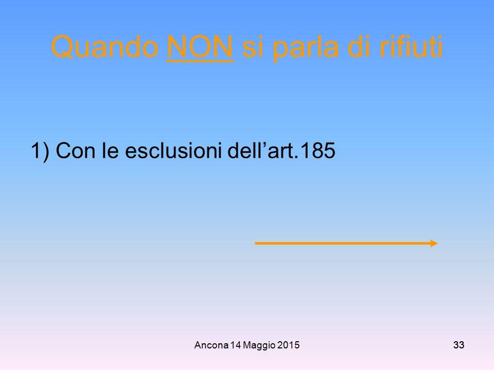 Ancona 14 Maggio 201533 Quando NON si parla di rifiuti 1) Con le esclusioni dell'art.185
